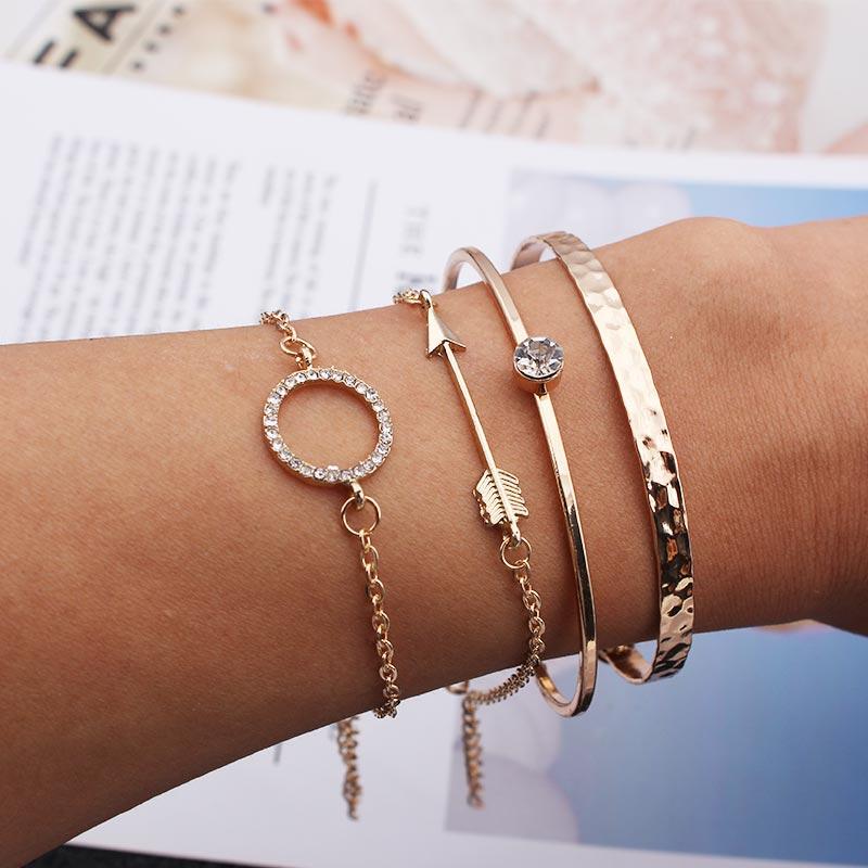 נשים מתכוונן קאף צמיד צמיד עם קריסטלים בציר זהב חץ צמיד דובאי אופנה תכשיטי 4PC
