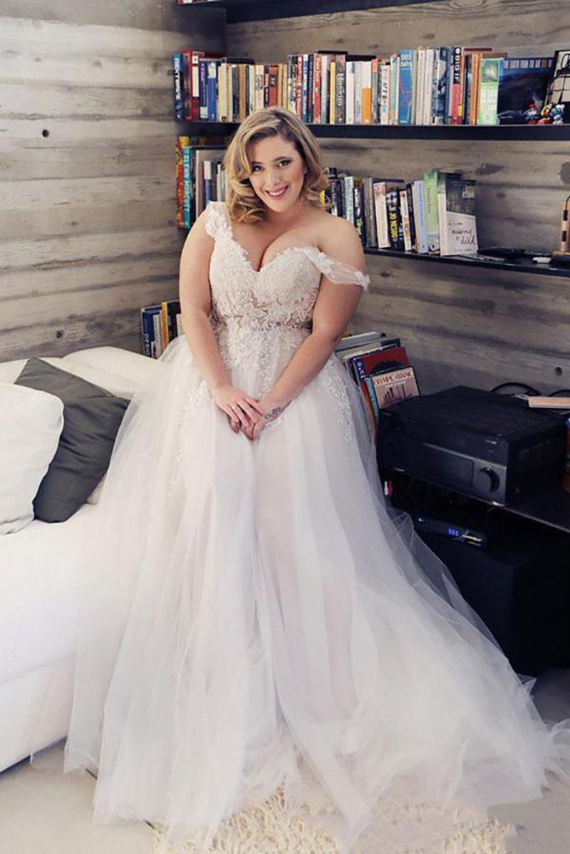 SoDigne Off The Shoulder Wedding Dress 18 Beach Bridal Gown Plus Size  Lace Wedding Dresses Sexy Boho Romantic Wedding Gowns