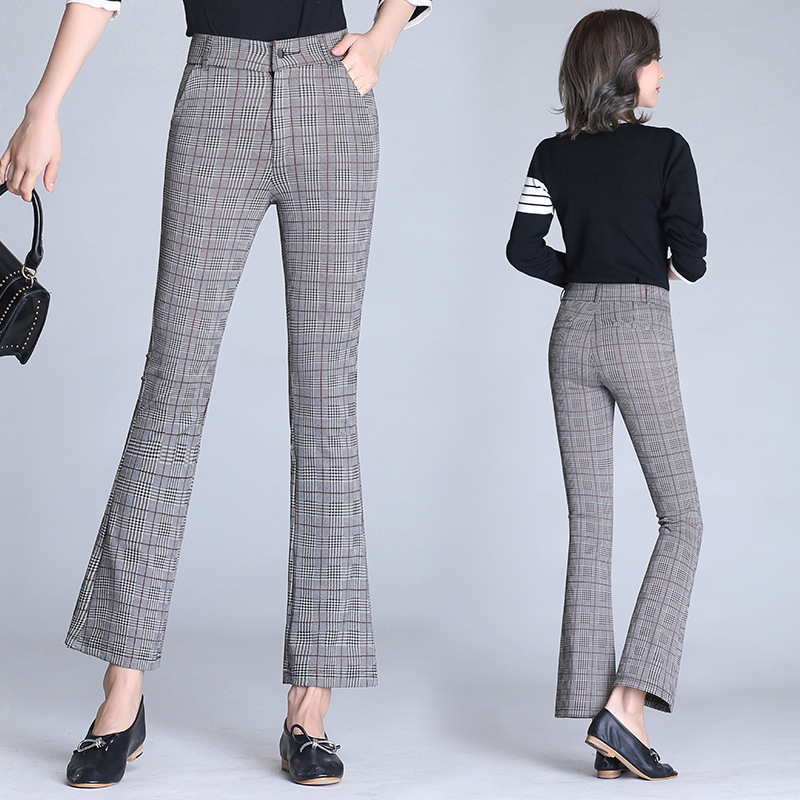 2018 WOMEN'S   Pants   Spring Summer New Style   Pants     Capri   Plaid Micro Bell-bottom   Pants   High-waisted Large Size Korean-style Casual