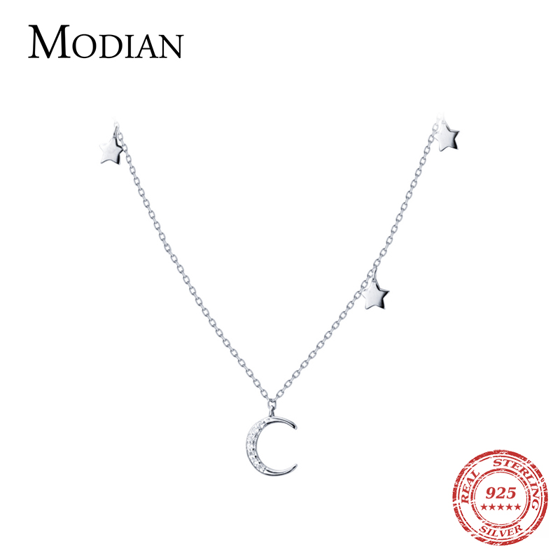 Modian Moon And Stars Fashion Charm Choker Pendants Necklace Classic Luxury 925 Sterling Silver Sparkling Jewelry For Women