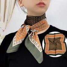 Venda quente 2020 feminino lenço de seda pescoço cachecóis de cabelo quadrado foulard cabeça marca xales e envoltórios neckerchief bandana hijab 70*70cm