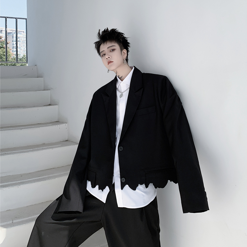 2020 Men Cut Irregular Hem Black Short Suit Coat Male Loose Casual Street Hip Hop Punk Gothic Outerwear Suits Blazers Jacket