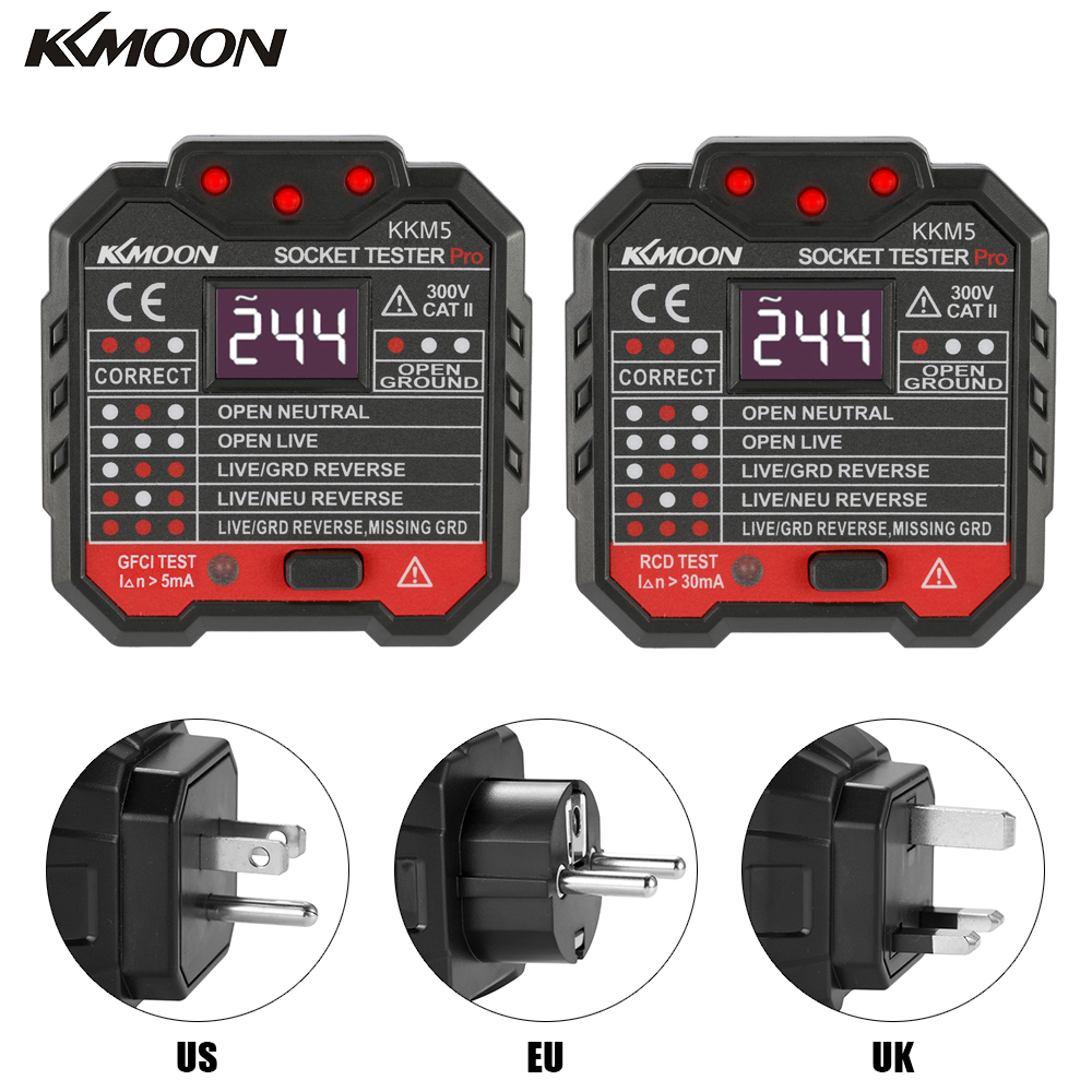 EU/US/UK Plug KKmoon KKM5 Digital Display Socket Detector Circuit Polarity Voltage Tester Wall Plug Breaker Finder RCD Test