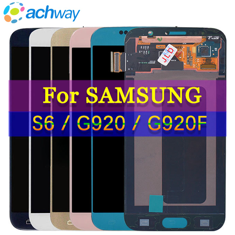 SUPER AMOLED 5.1'' <font><b>Display</b></font> For <font><b>SAMSUNG</b></font> S6 <font><b>G920</b></font> G920F Black LCD For 5.1 GALAXY S6 Edge G925 G925F Touch Screen Digitizer Assembly image