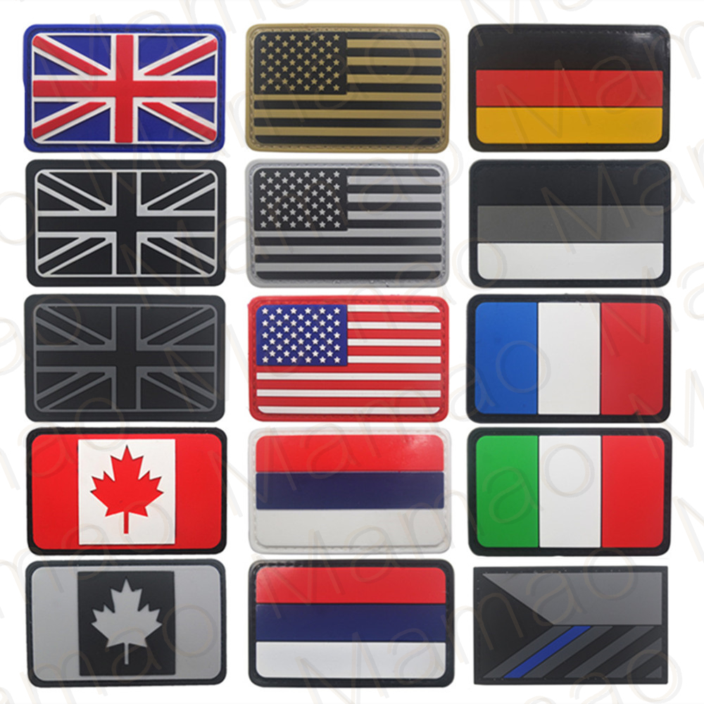 United Kingdom Germany Czech France Italy US Russia Canada USA Spain PVC Flag Military Morale Patch Tactical Rubber Flags Badges(China)