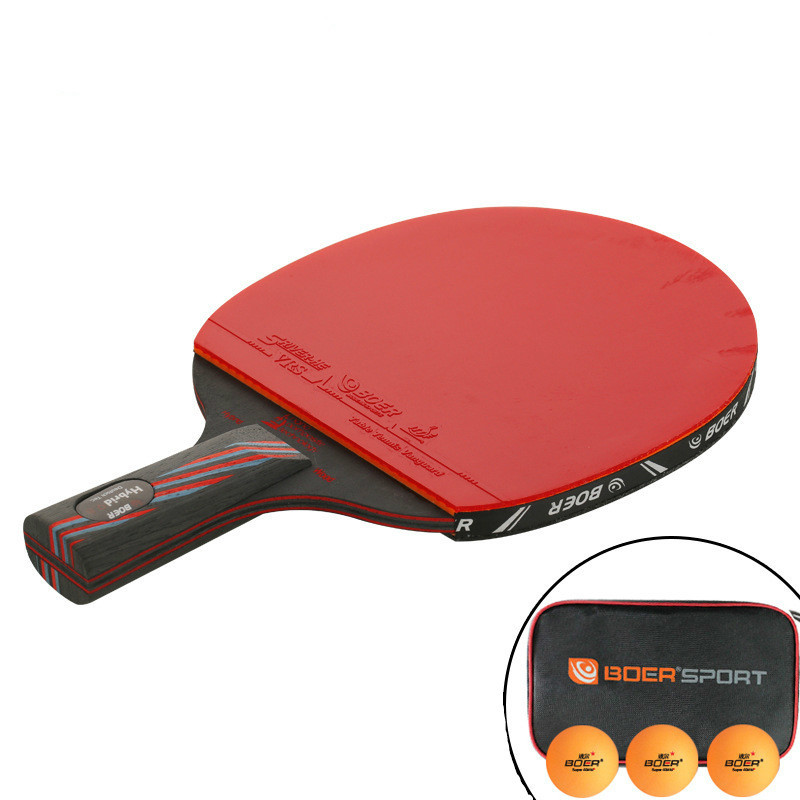 Купить с кэшбэком 1PCS 6 Star Table Tennis Blade Professional PingPong Racket Nano-Carbon Long Short Handle Paddle Racquet with Carry Bag 3 Balls
