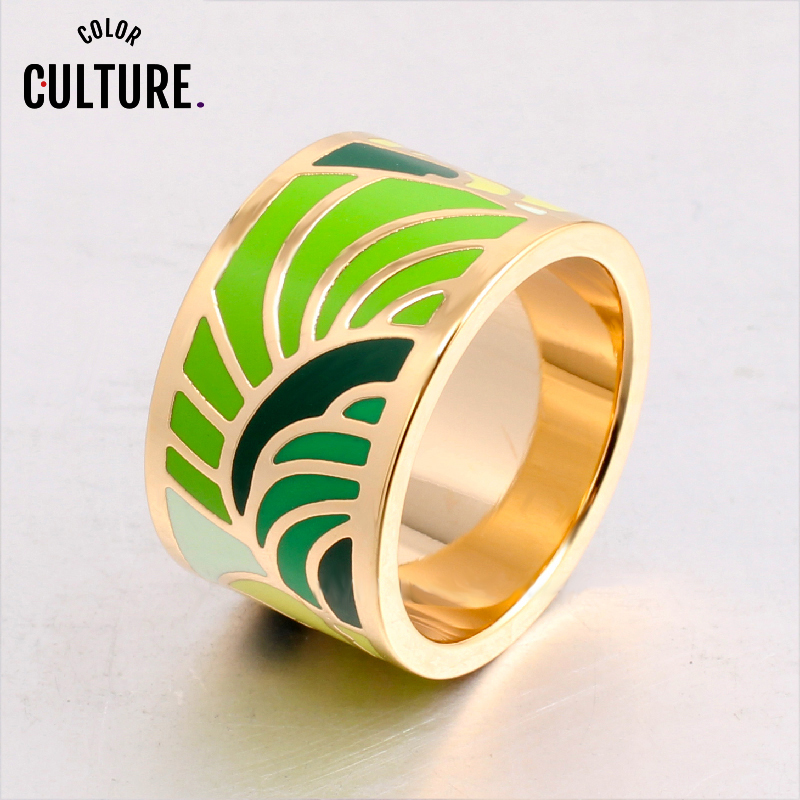 Enamel  Rings for Women Clothing model Colour Jewelry  Ring Feather Pattern wholesale
