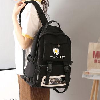 Black Women Backpack for Girls School Bags Teenage Oxford Waterproof School Back Pack Flowers Fashion Bagpack Transparent Pouch