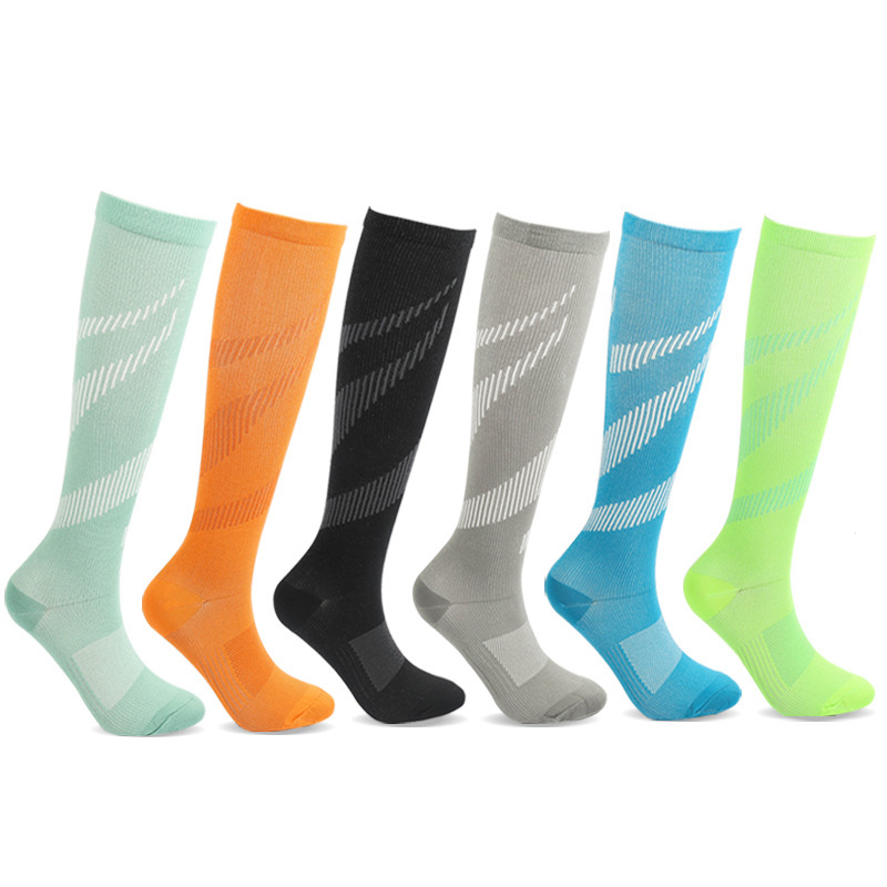 Running Compression Socks Women Men Knee High Sport Stockings White Grain Racing Pressure Run Compress Long Nylon Multi Color