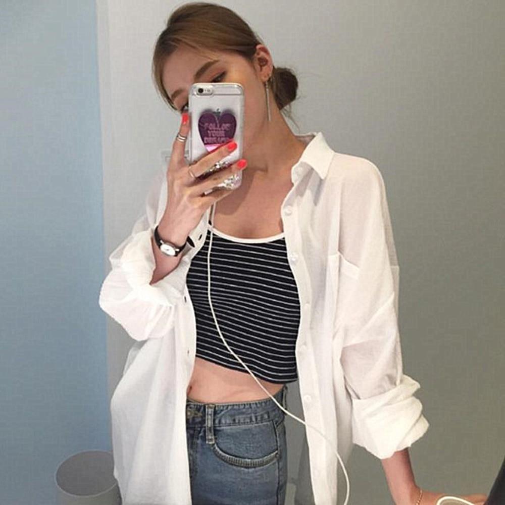 DeRuiLaDy 2018 осень зима Женская Полосатая блуза с длинными рукавами Свободная Женская рубашка длинный кардиган повседневные женские офисные блузки Топы