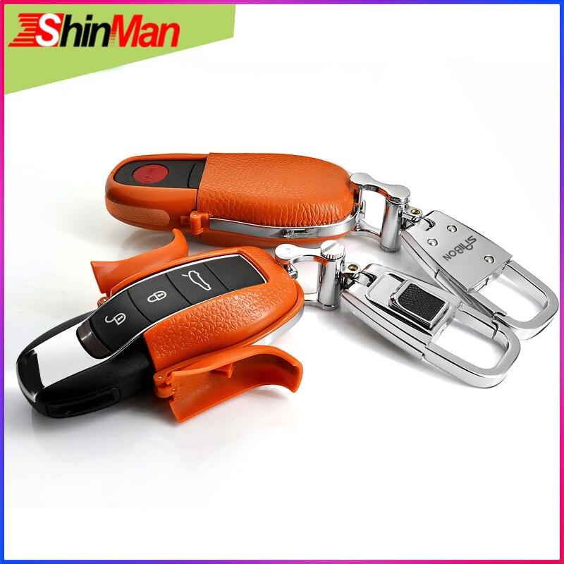 shinman couro de vaca abs caso chave do carro proteger escudo para porsche caso chave para
