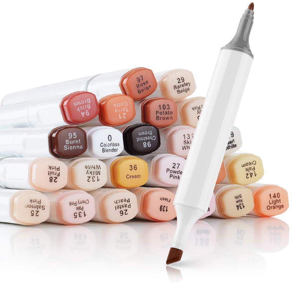 24 PCS Marker Pens Skin Brown Series Color For Portrait Sketch Drawing Paint Art Design School Animation Mango Supply