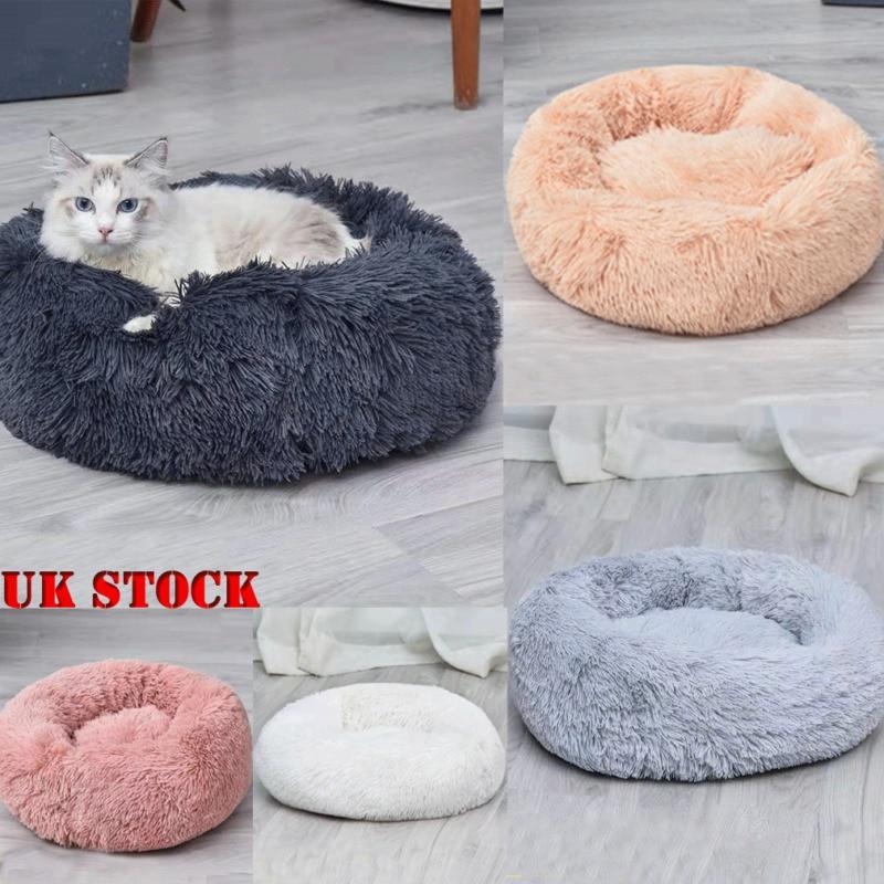 40CM, White Pet Nest Cushion Plush Round Kennel Cat Nest Self-warming Dog Bed Cat Bed Ultra Soft Donut Cuddler Improved Sleep