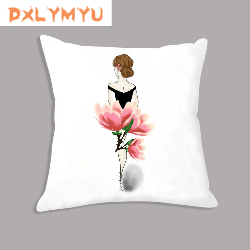 Nordic Style Watercolor Flower Girl Print Cushion Soft Decorative Cushion Throw Pillow For Sofa Home Decor