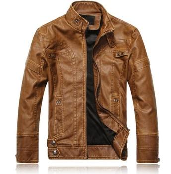 Motorcycle PU Leather Men Vintage Retro Moto Jacket Motorcycle Clothing Coats Slim Winter Windproof Faux Leather Jacket maplesteed vintage motorcycle jacket men leather jacket 100