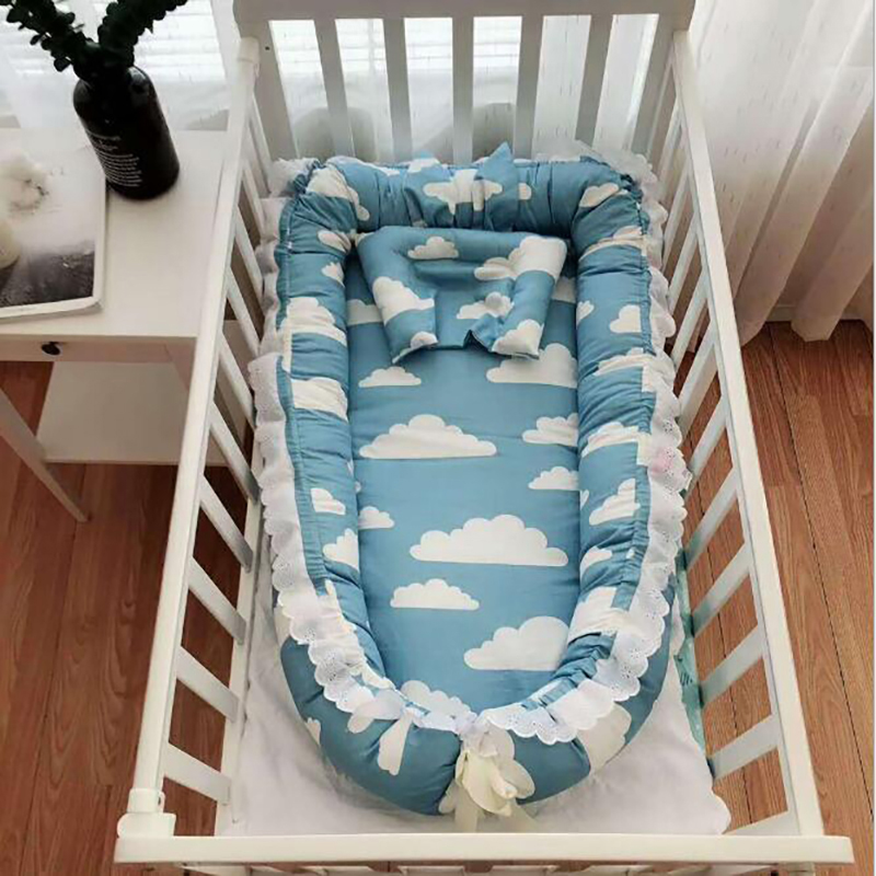 Infant Cot Bed Travel Portable Crib Baby Sleeping Basket Cotton Bed Newborn Pillow Sleeping Cot  Nest