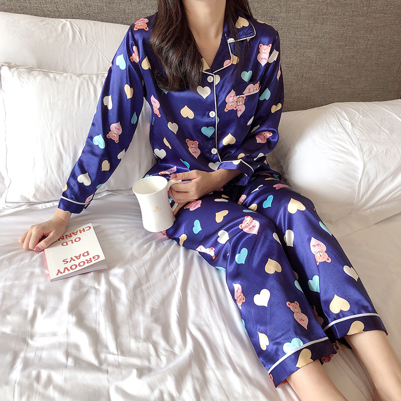 Women Clothes 2019 Autumn Long Sleeve Silk Sleepwear For Women Fashion Printing Pajama Set Home Clothes Long Pant Sexy Pajamas