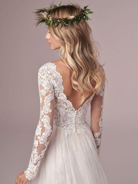 A Line Long Sleeve Bridal Dresses Wedding Dress 2020 Tulle Lace Long Ivory Vestido De Novia Open Back свадебное платье Plus Size 4