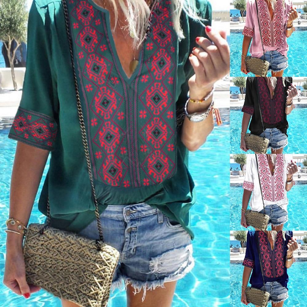 JODIMITTY 2020 Women Ethnic Style Bohemian Blouse Shirt Sexy V Neck Beach Blusas Summer Casual printed Boho Blouses 4XL 5XL
