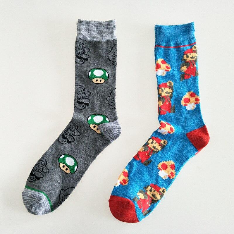 Cartoon Super Mario Jacquard Sock Mushroom Fashion Novelty Personalized Men Socks Comfort Sweat Absorbent Happy Cotton Crew Sock