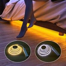 Bezprzewodowe z czujnikiem ruchu czujnik LED Strip lampa 1M 2M 3M taśma LED z usb zastosowanie w TV pod łóżko szafka szafa na ubrania schody oświetlenie drzwi