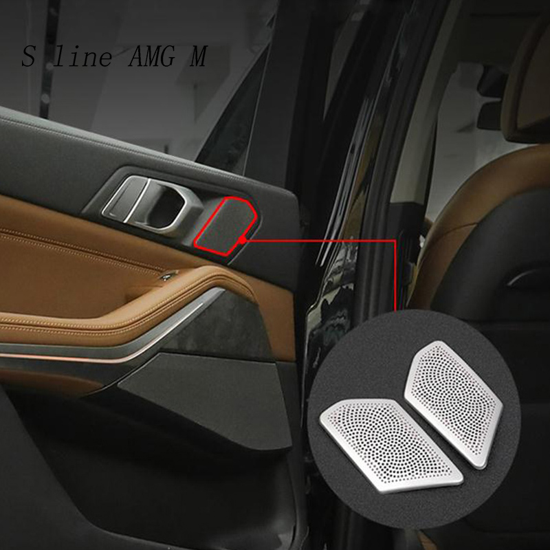 Car styling Audio Speaker Rear Door Loudspeaker Trim Covers Stickers  For BMW x5 g05 stainless steel Interior auto Accessories|Car Stickers| |  - title=