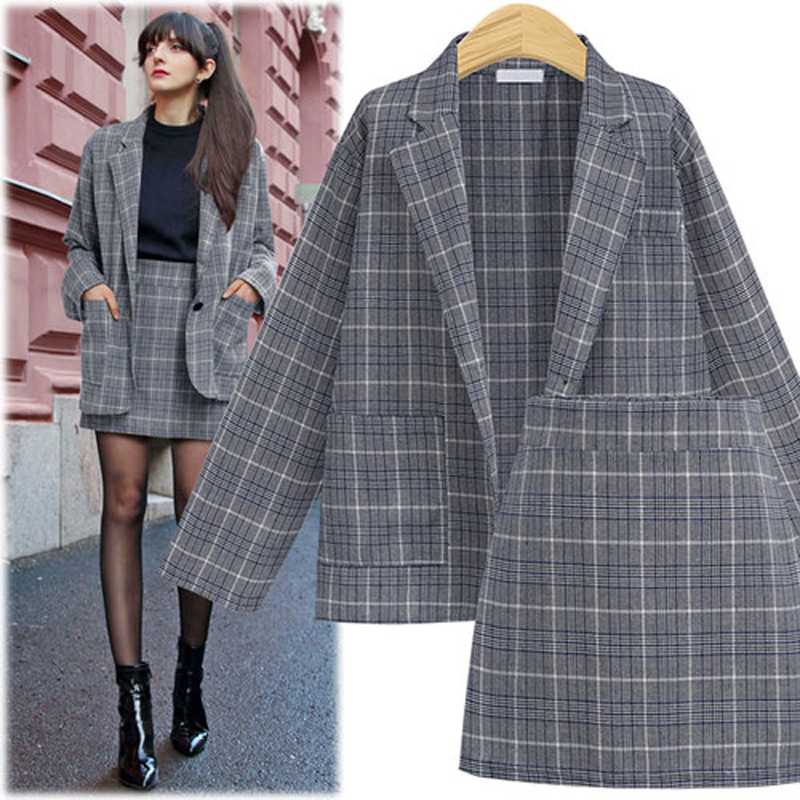 Women Suit Sets Autumn Elegant Office Plaid Long Sleeves Single-Breasted Pocket Suit Jacket + Skirt Suits Formal Skirt Set