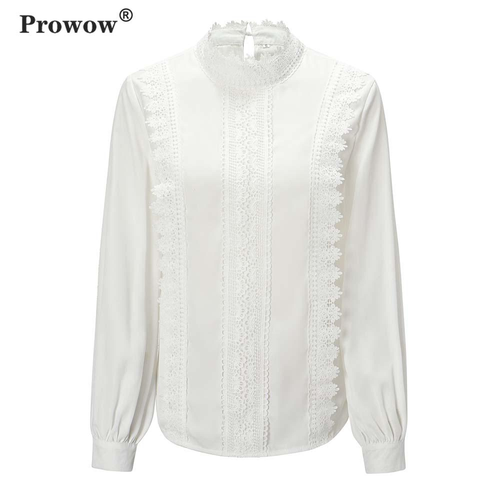 Prowow Lace Chiffon Blouse Women Stand Collar Long Sleeve Solid Color Shirt office Ladies Spring White Tops 2020 New