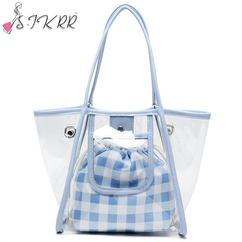 S.IKRR Summer Fashion Small Women Bags 2020 PVC Clear Composite Handbag Chain Shoulder Bag Transparent Tote Bags Beach Hand Bag