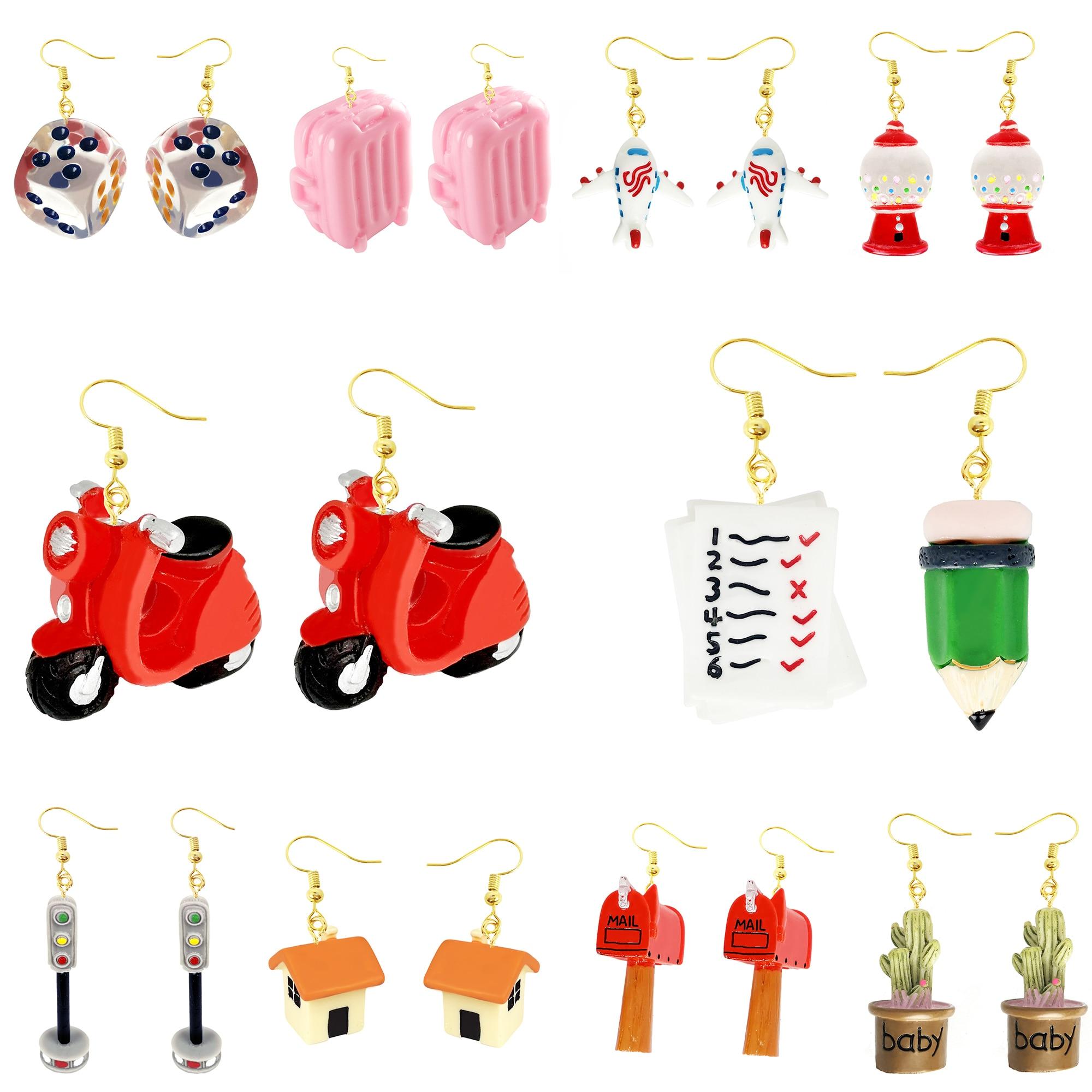 Women Earring Made Cute Girls Eardrop Funny Gift Sweet Handmade Cartoons Mini Plane Traffic Lights Dice Cactus