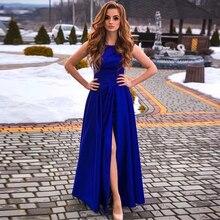 Elegant Royal Blue Prom Dress Sleeveless High Slit Simple Evening Dresses Cheap Gowns Long Vestido De Formatura 2019 New