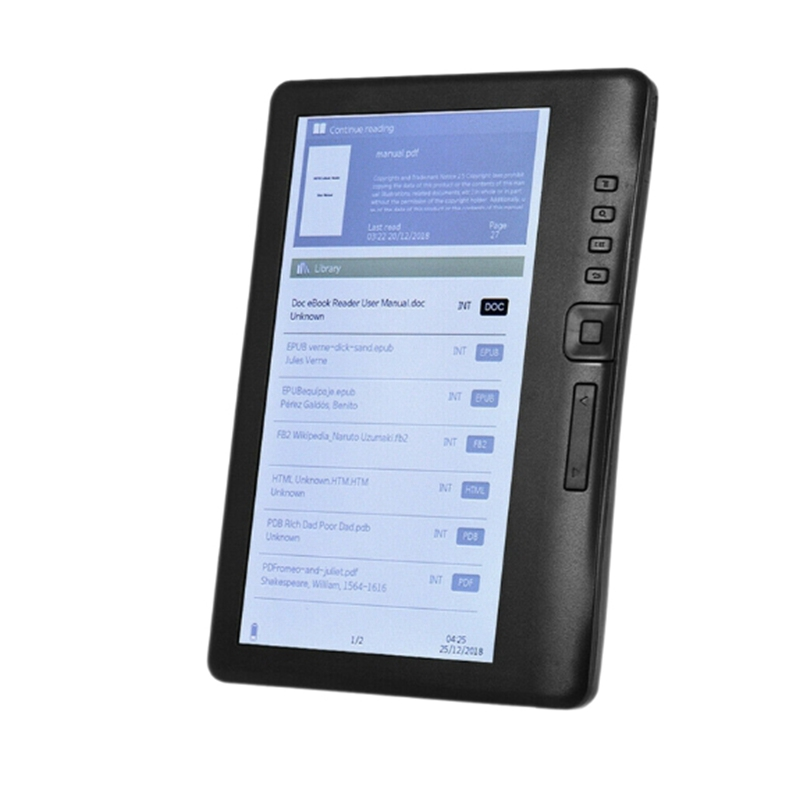 7 Inch Ebook Reader E-Ink LCD Color Screen Smart with HD Resolution Digital E-Book Video MP3 Music Player Supports TF Card