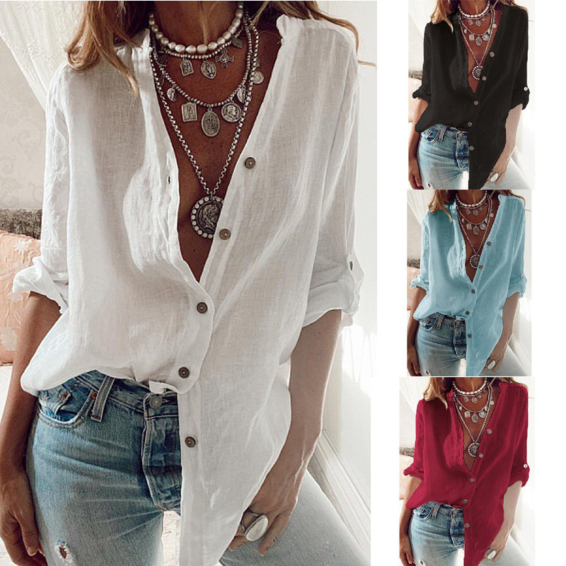 Fashion New Women Shirts White S 5XL Plus Size Autumn Tops Casual Loose Solid Color Cotton Rollable Sleeve V neck Blouses Blusas|Blouses & Shirts| - AliExpress