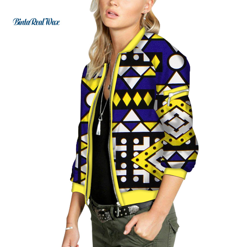 African Wax Print Bomber Jacket Zipper Up Retro Coat Plus Size Short Jackets Female Bazin Riche Dashiki Women Coat Jacket WY6523