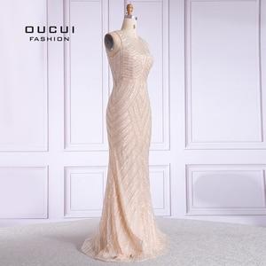 Image 3 - Women Trumpet Mermaid Evening Dress 2019 Long Robe De Soiree Vintage Sleeveless Beading Evening Gown Vestido De Noiva OL103621