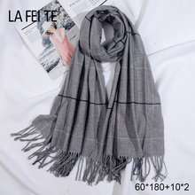 Winter 100% Pure Cashmere Scarf Women Pashmina Shawl Mens Crinkle Hijab Stoles Female Snood Warm Blanket For Ladies
