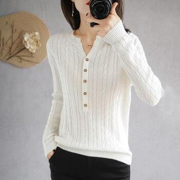 BARESKIY    2020 Women's Tops Pure Color Slim Korean Cotton Sweater V-neck Short Stretch Pullover Base Shirt Ladies Jacket 1