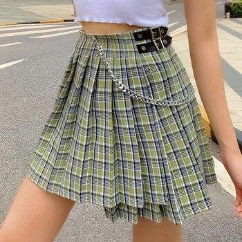 цена на Lofia Asymmetric High Waist Plaid Skirt Pleated Women Chain Waist Buckle Short Mini Skirt Summer Sweet Faldas Cortas Mujer