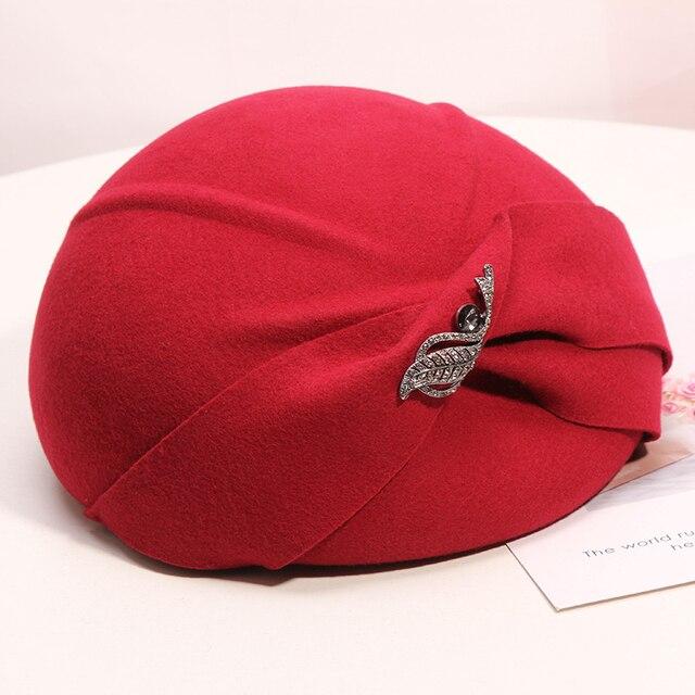 Frauen Chic Filz Hut Cocktail Hochzeit Kirche Baskenmütze Caps Fashion Headwear Dame 100% Wollfilz Hüte