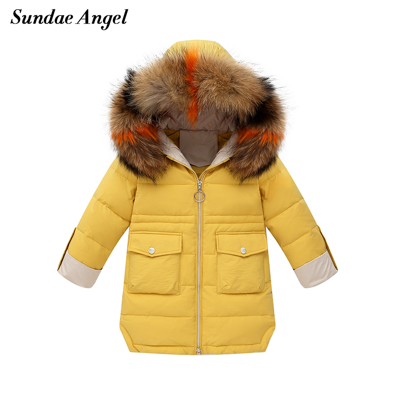 Sundae Angel Winter Jackets Girls Parka Real Fur Collar Thicken Warm 80% White Duck Down Coat For Girls 2-8 Years Padded Jacket Outerwear Clothes