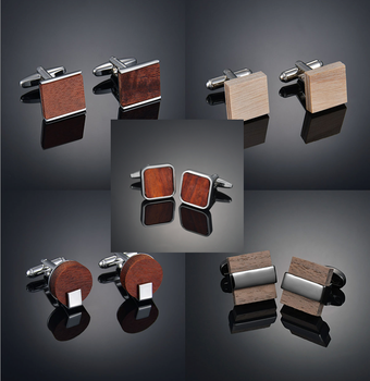 Square Wooden Cufflinks For High-end Men's French Business Cuffs, Solid Wood Pattern, French Sleeve Nails Customization