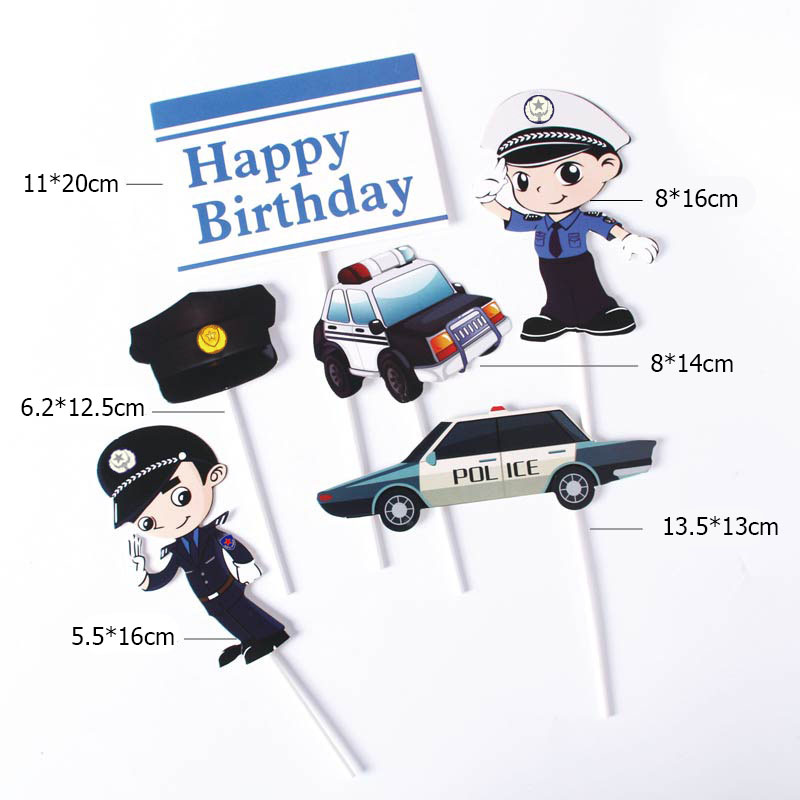 2020 6Pcs/lot Police Dream Birthday Cake Topper Police Car Happy Birthday Cake Topper For Kids Birthday Party Cake Decorations