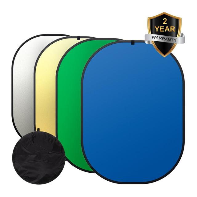 ZUOCHEN Photography Chromakey Backdrop Cotton Background Green Blue Screen +2in1 Reflector For Facebook Live Photography