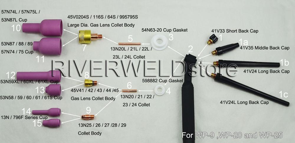 Boquillas de al/úmina 4XL D6,5 x 63 mm para orificio DB SR WP 9 20 25 TIG antorcha de soldadura 10 unidades TIG 796F75