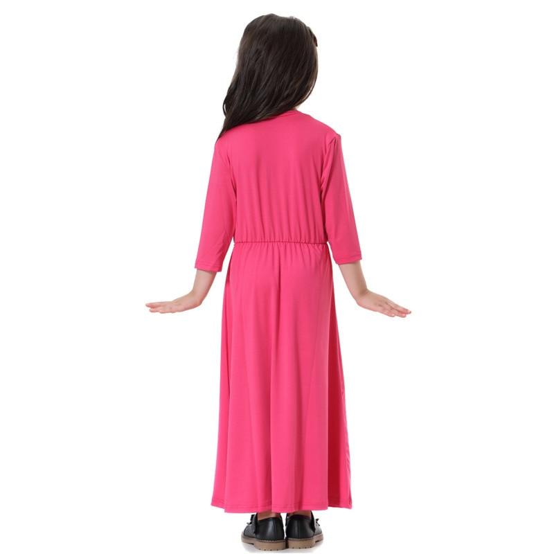 90cm-160cm Muslim Girls Dress Abaya Princess Dress Children Moroccan Robe Dubai Kids Islamic Clothing Pakistani Longuette Maxi Baby Kids