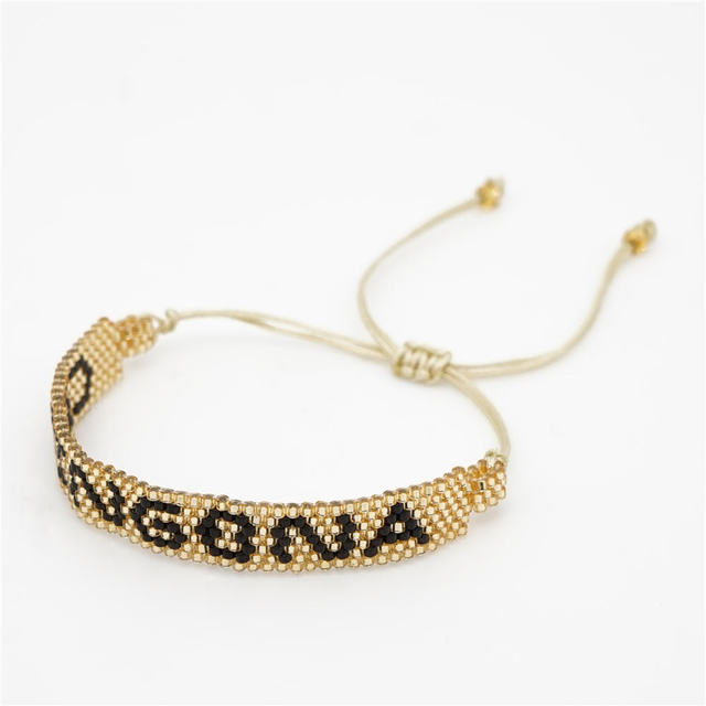 Rttooas MIYUKI Beads Bracelet Handmde CHINGONA-Power Letter Bracelet Women Fashion Jewelry Bracelet