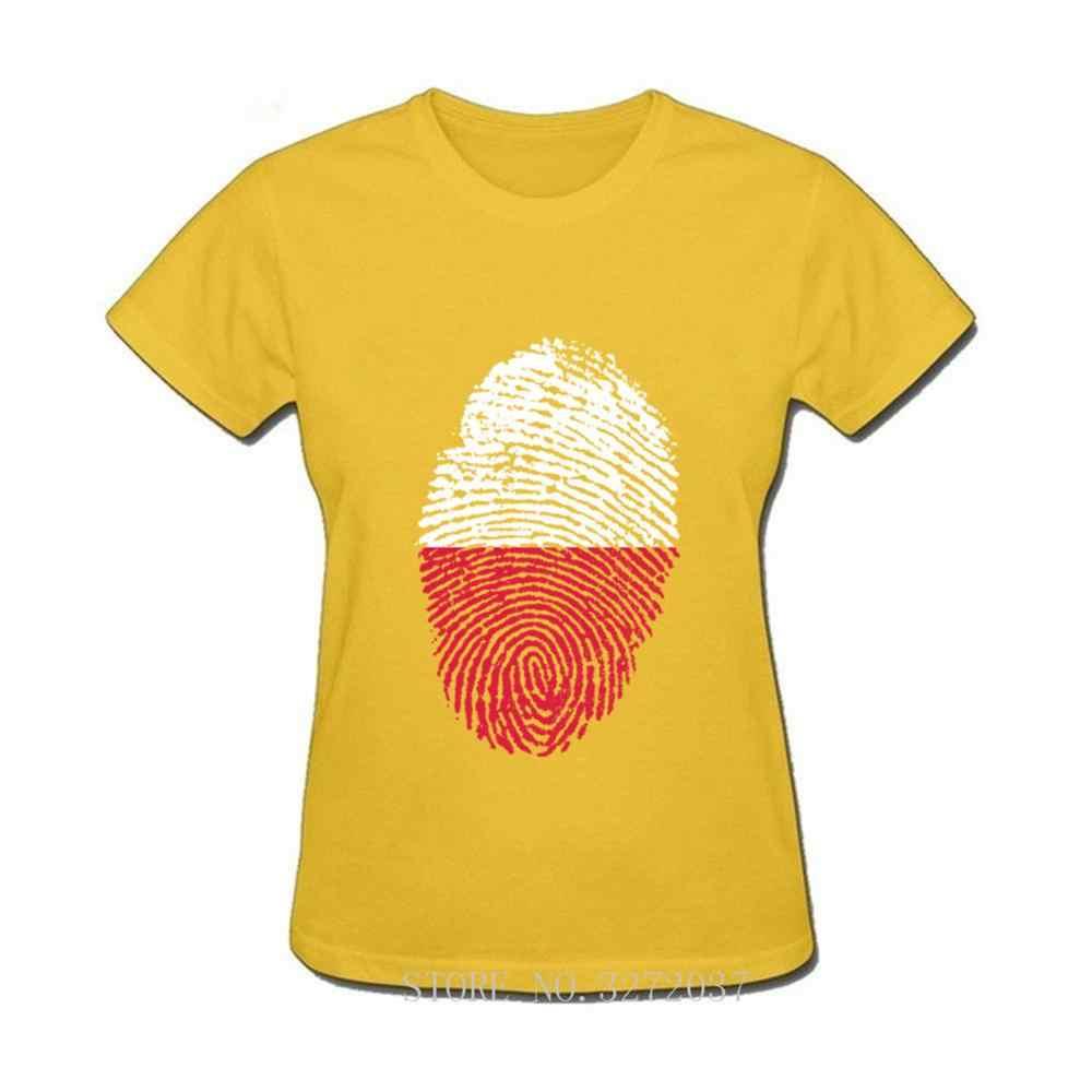ポーランドフラグ指紋女性 Tシャツ 2019 最新人気デザイン Tシャツ半袖 o ネック Tシャツ