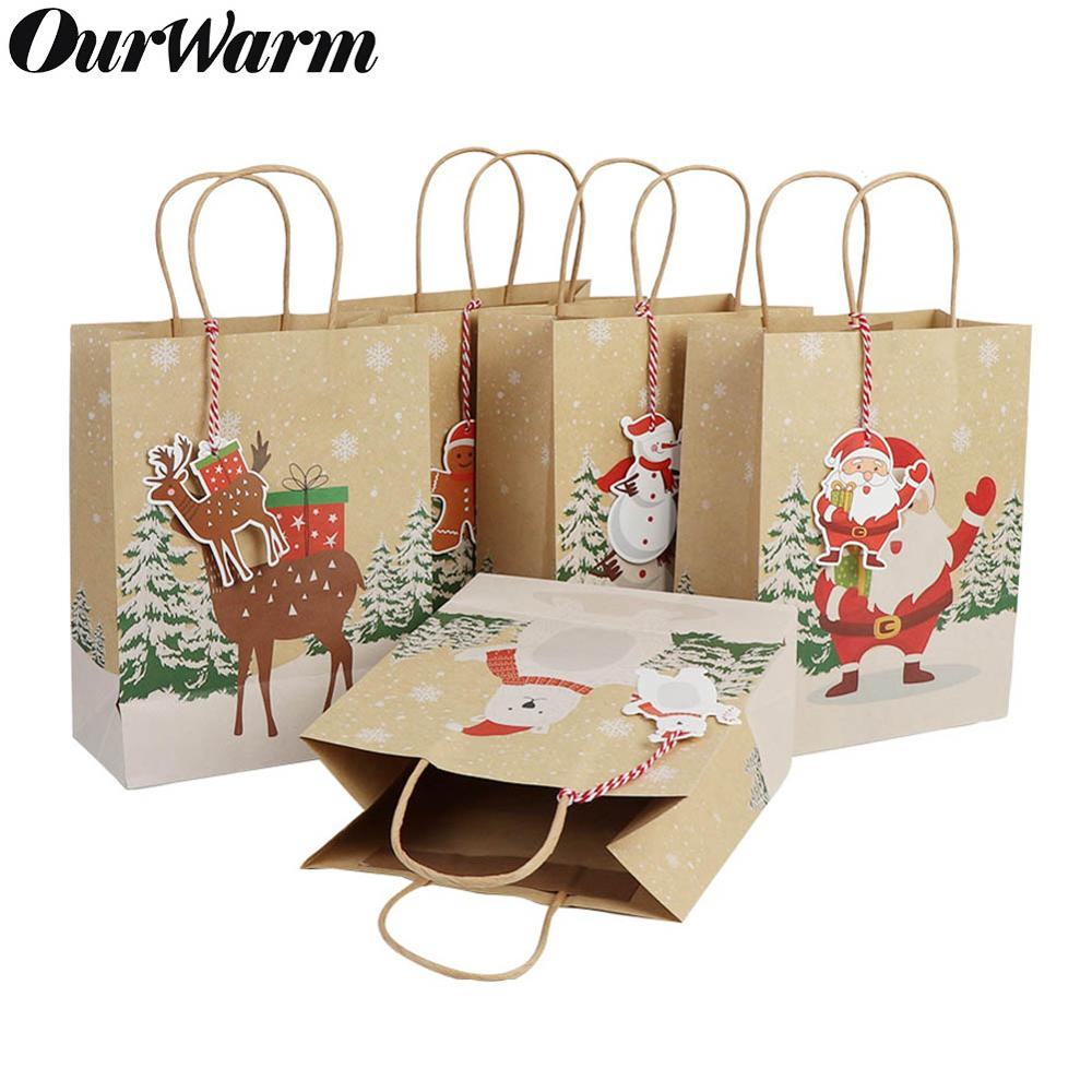 OurWarm 6Pcs Christmas Gift Bags Santa Sacks Kraft Paper Bag With Handle Kids Party Favors Box Christmas Decorations For Home