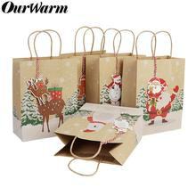 OurWarm 6Pcs Christmas Gift Bags Santa Sacks Kraft Paper Bag with Handle Kids Party Favors Box Decorations for Home