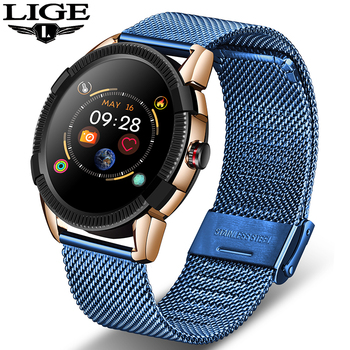 LIGE 2019 Steel Band Smart Watch Men and Women Heart Rate Sphygmomanometer SmartWatch Waterproof Fitness Tracker for Android iOS